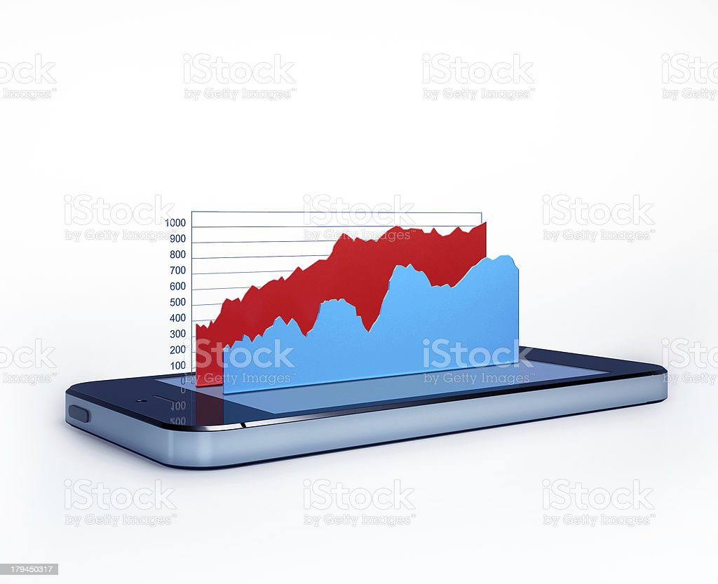 Mobile phone with 3d-charts on screen royalty-free stock photo