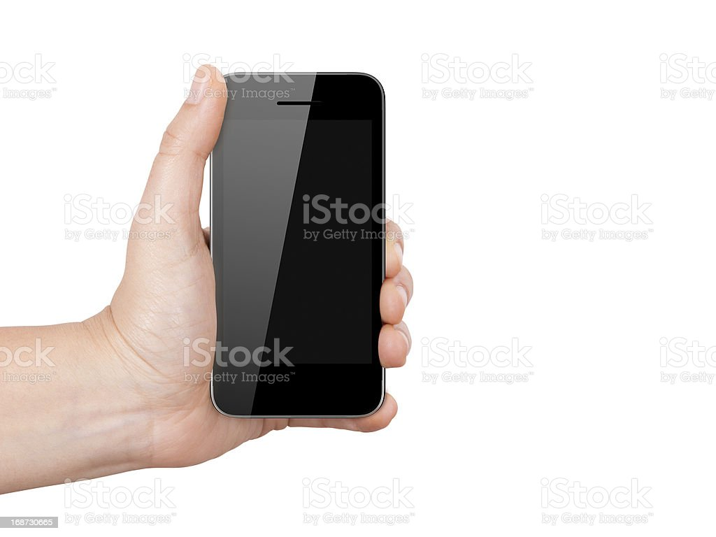 Mobile Phone with Blank Screen Holding by Hand stock photo