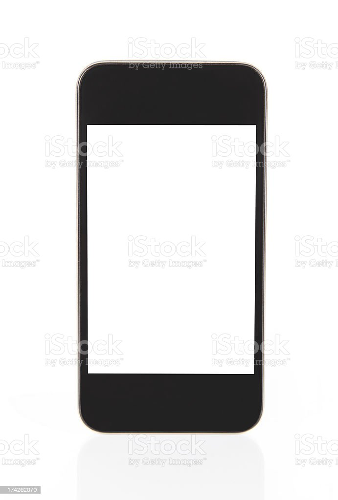 Mobile Phone With Blank Screen Isolated-XXXL royalty-free stock photo