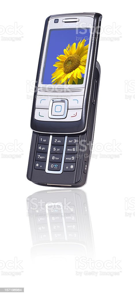 Mobile phone with camera (clipping path), isolated on white background royalty-free stock photo