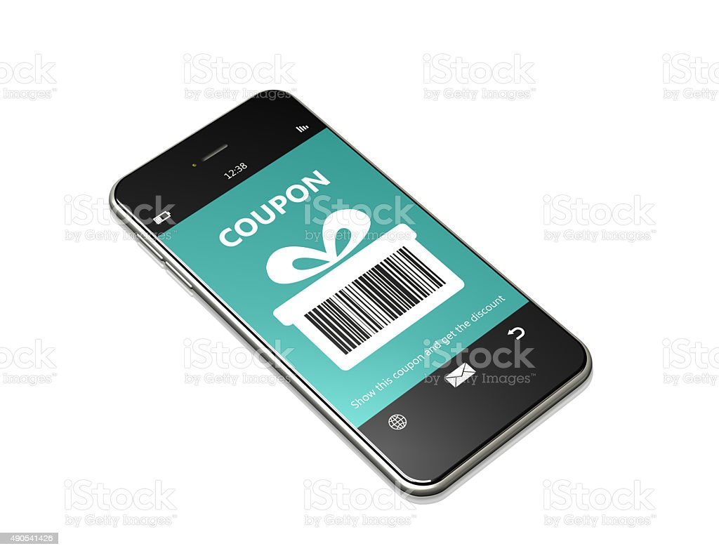 mobile phone with discount coupon over white stock photo