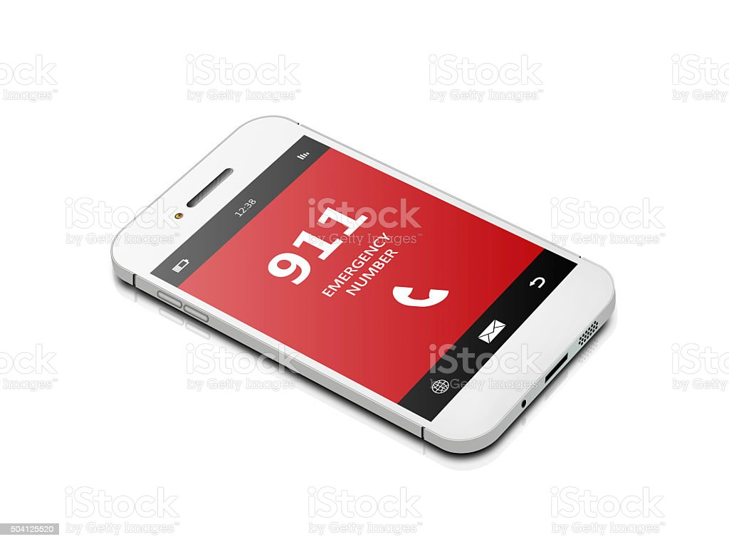 mobile phone with emergency number 911 isolated over white stock photo