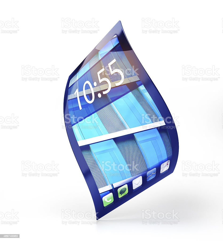 mobile phone with flexible screen stock photo