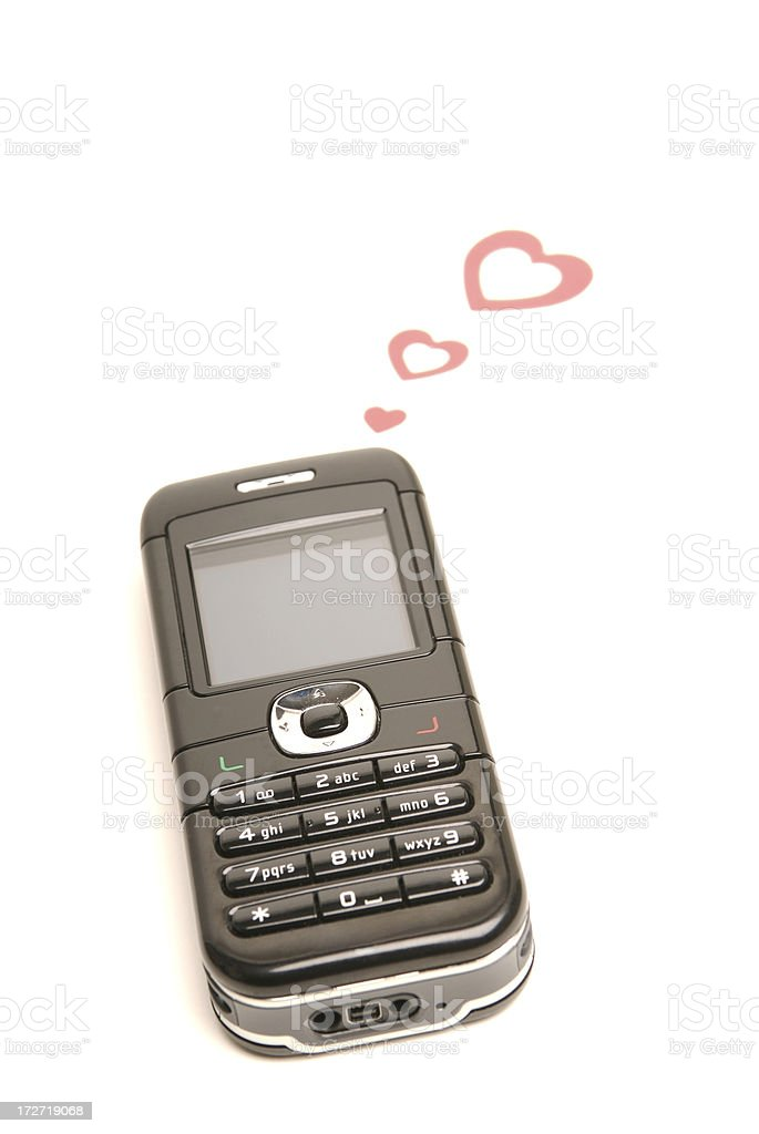 Mobile Phone with Hearts on White stock photo