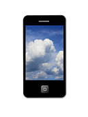 mobile phone with image of picturesque clouds