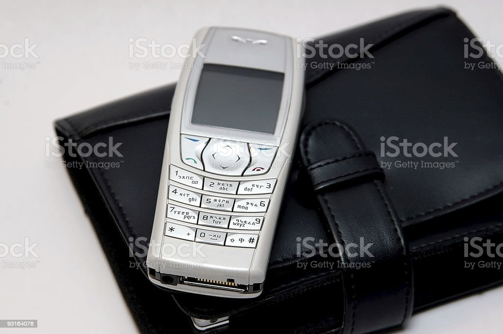 Mobile phone with organizer royalty-free stock photo