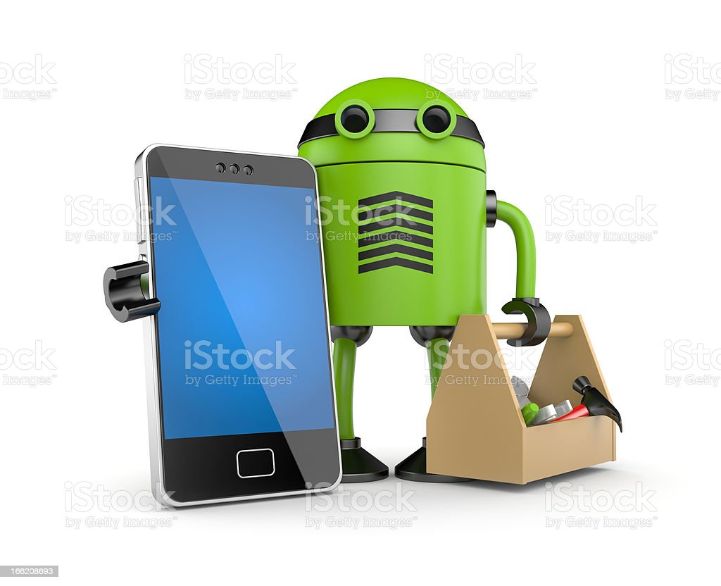Mobile phone with robot stock photo