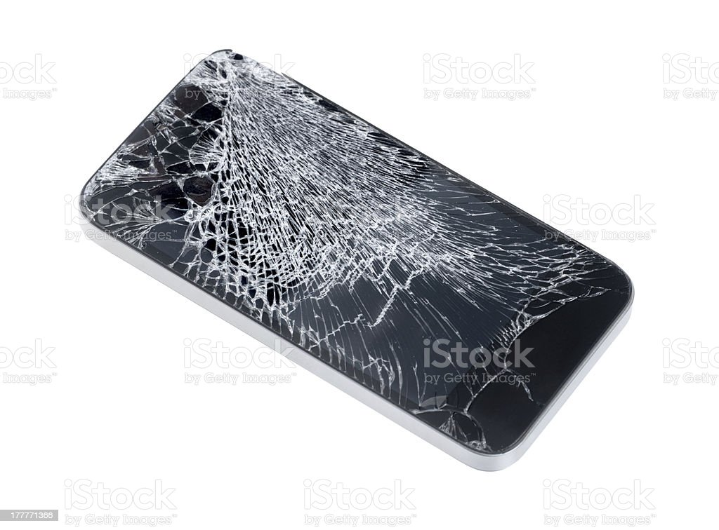 Mobile phone with shattered glass screen on white background stock photo