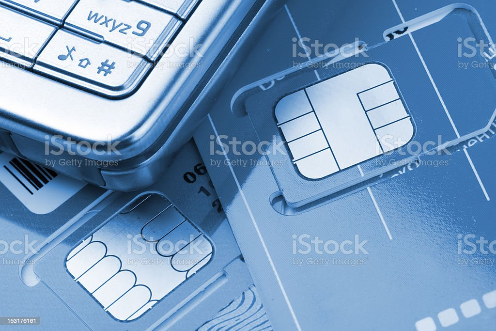 Mobile phone with sim cards royalty-free stock photo