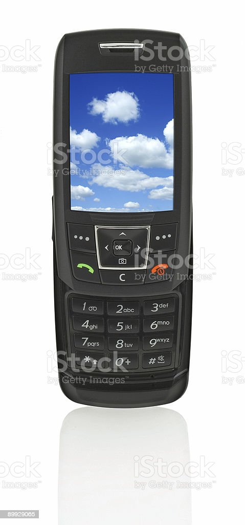 mobile phone with sky stock photo
