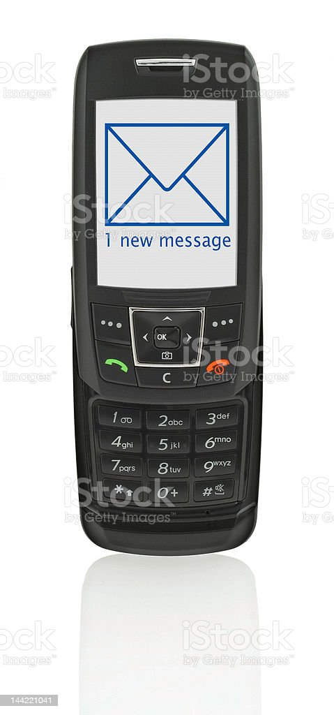 mobile phone with SMS stock photo