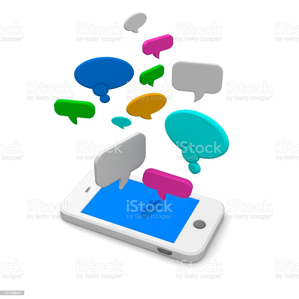 Mobile phone with speech bubbles royalty-free stock photo