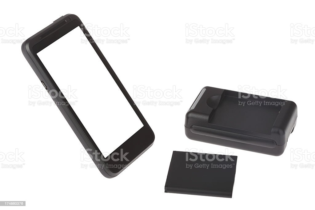 Mobile phone,battery and charger on white background royalty-free stock photo