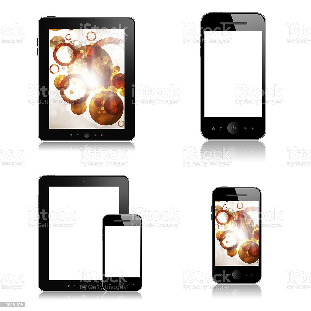 Mobile phones and tablets on white background royalty-free stock photo