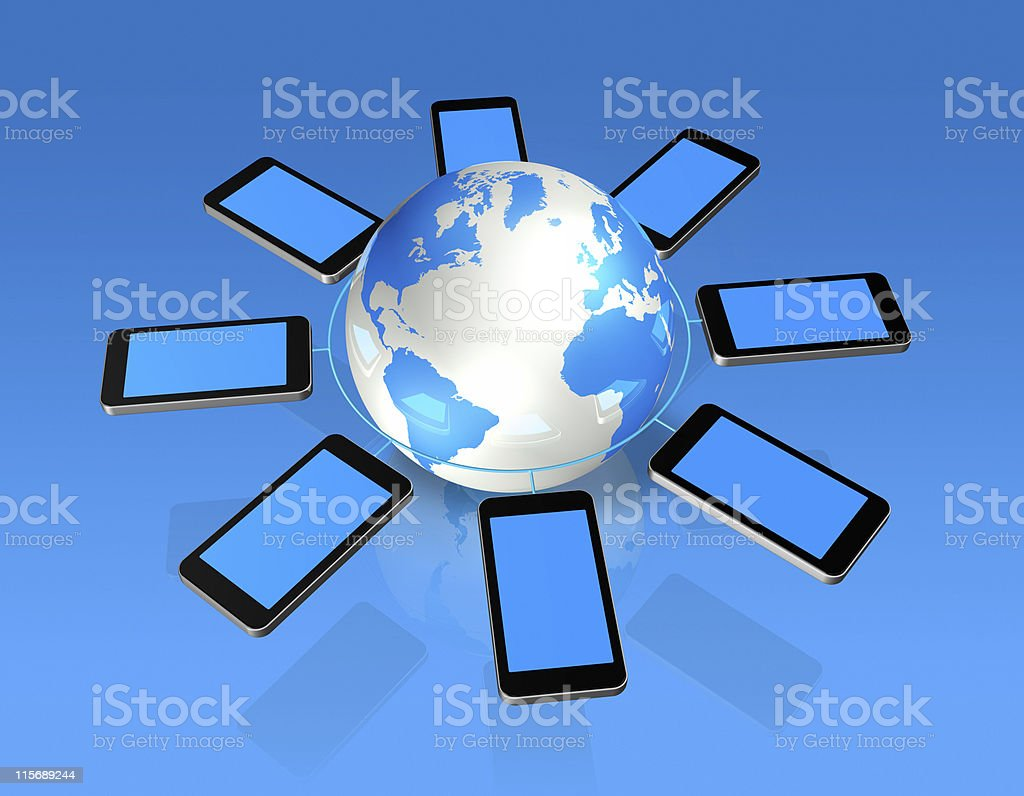 3D mobile phones around a world globe royalty-free stock photo