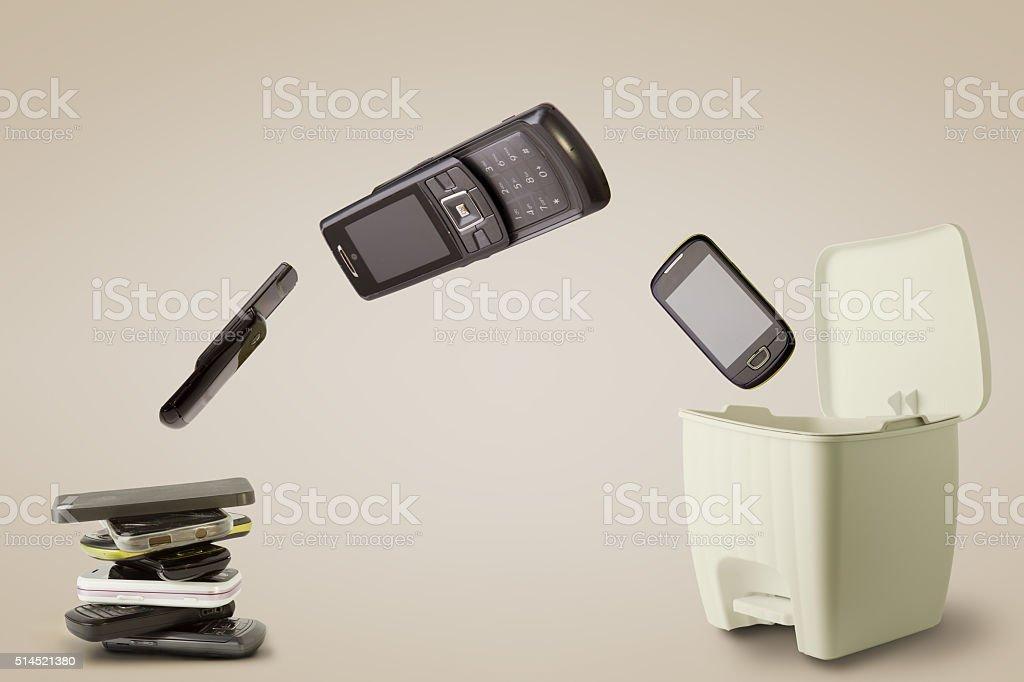 Mobile Phones to throw away stock photo