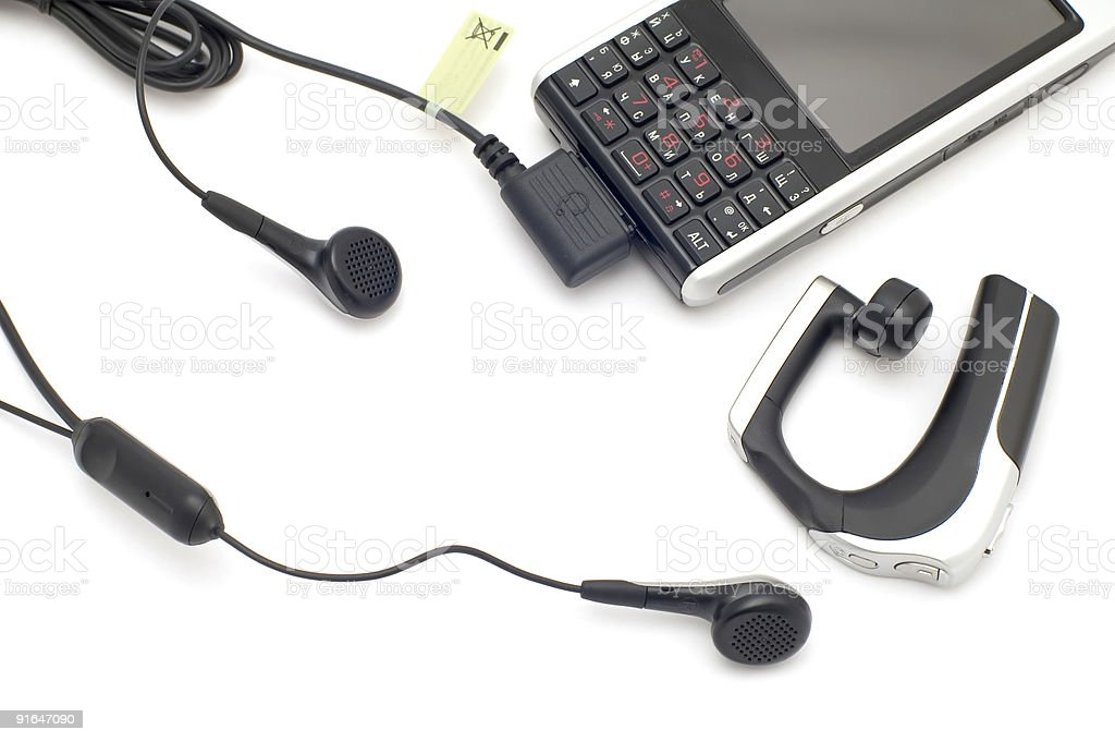mobile phones with headset royalty-free stock photo