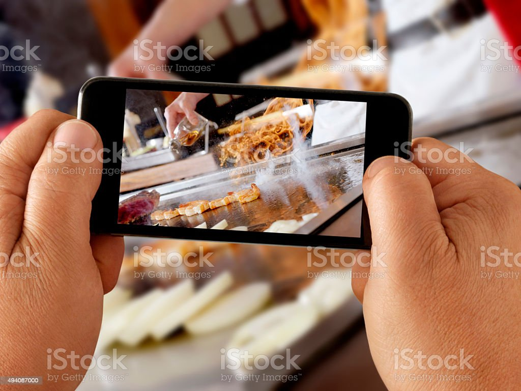 Mobile Photography at a Japanese Restaurant stock photo