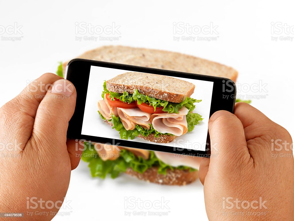 Mobile Photography of a Turkey Sandwich stock photo