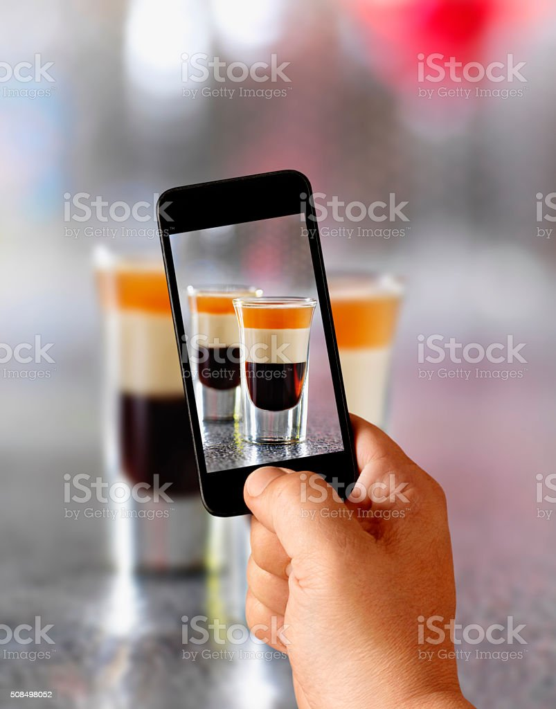 Mobile Photography of B-52 Shooters in The Bar stock photo
