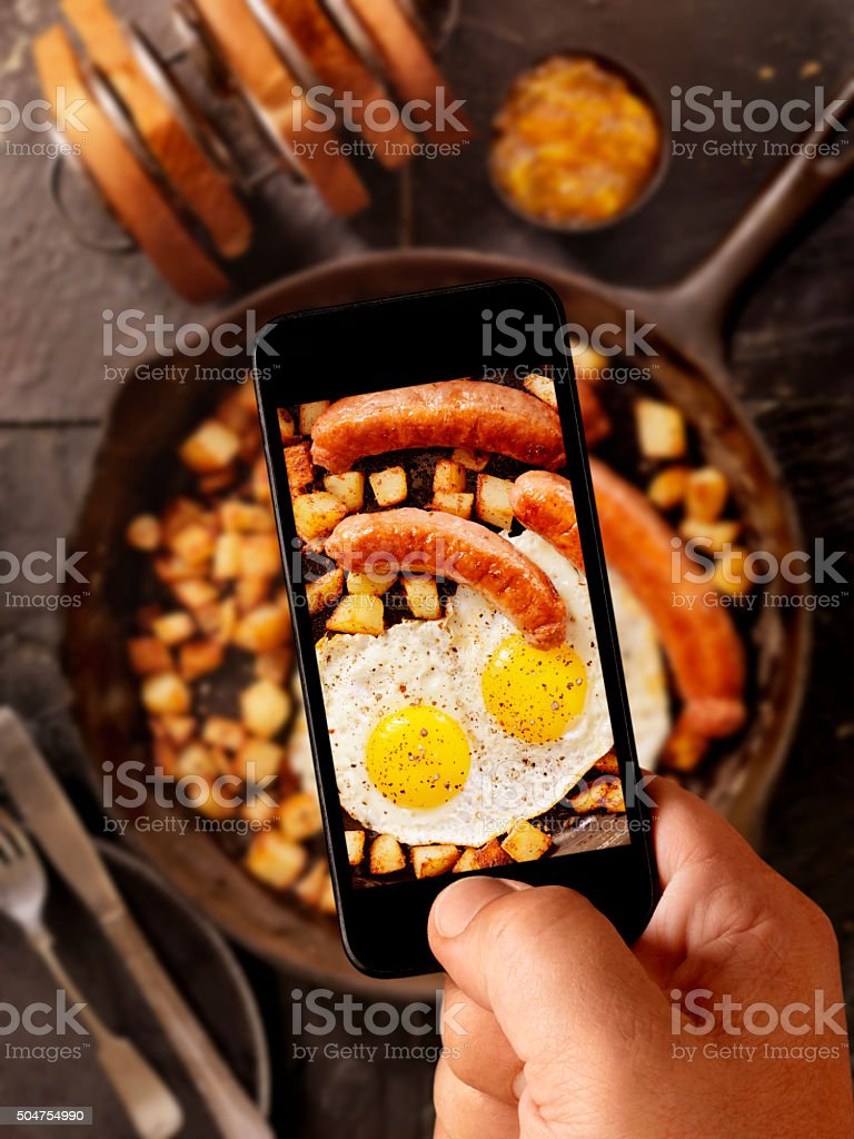 Mobile Photography of Breakfast with Sunny side up eggs stock photo