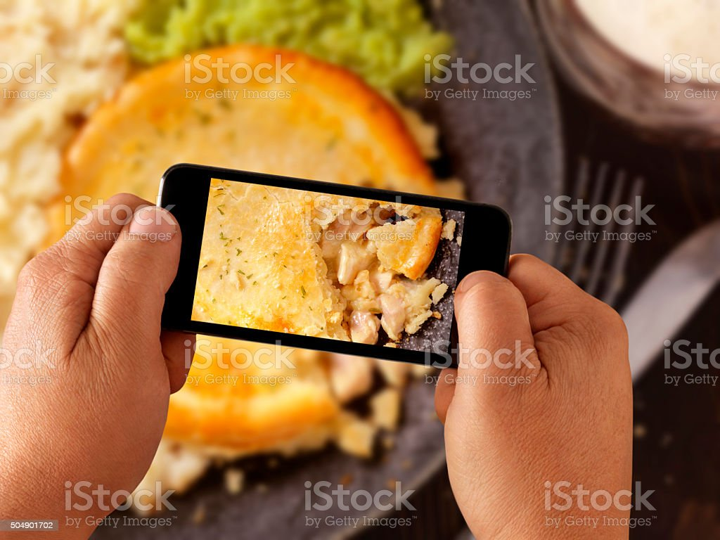 Mobile Photography of Chicken Pot Pie stock photo
