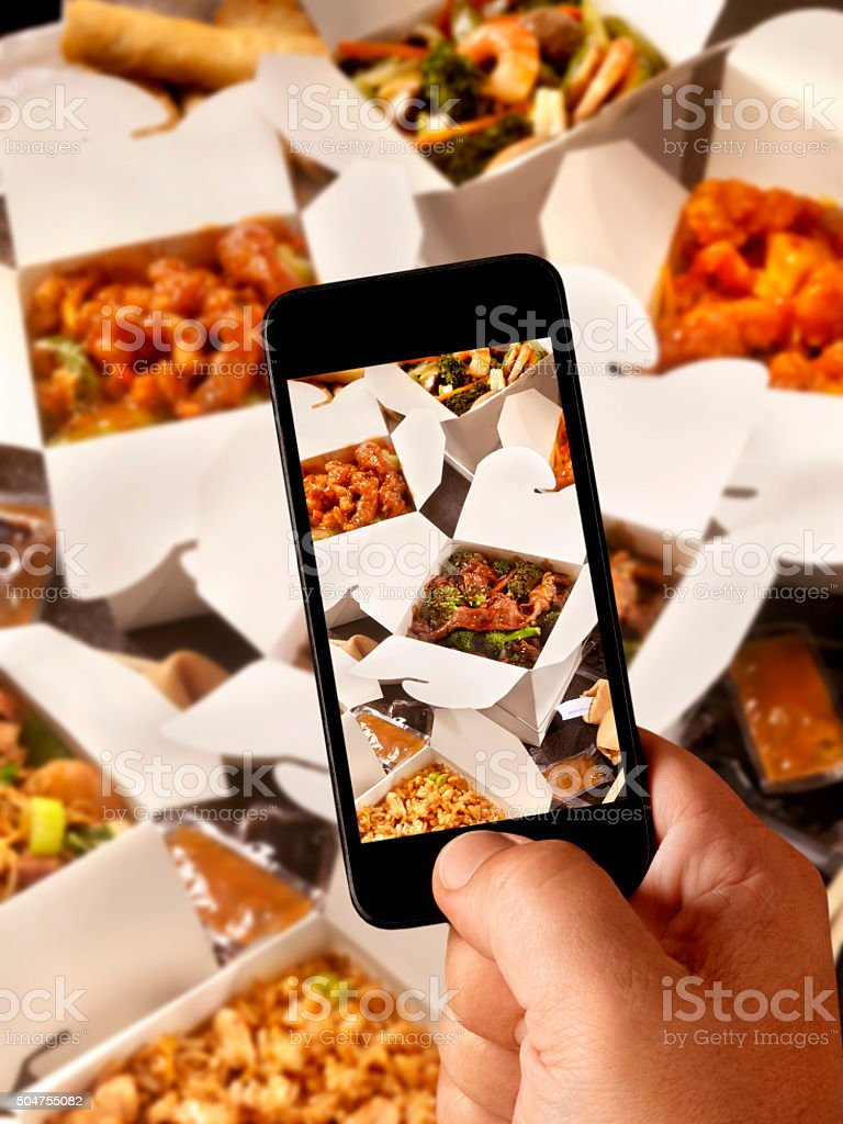 Mobile Photography of Chinese Take Out stock photo
