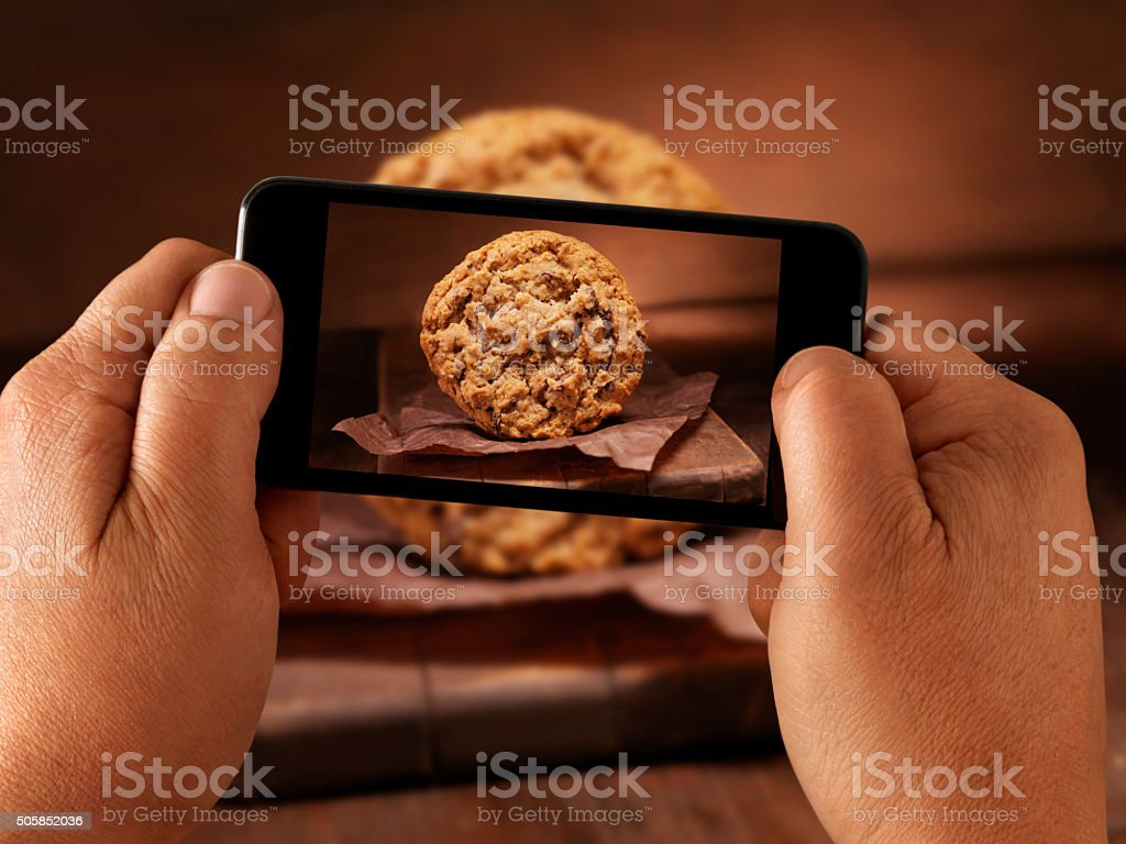 Mobile Photography of Chocolate Chunk Cookies stock photo