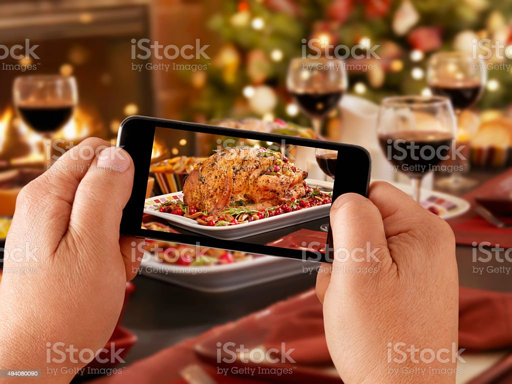 Mobile Photography of Christmas Turkey Dinner stock photo