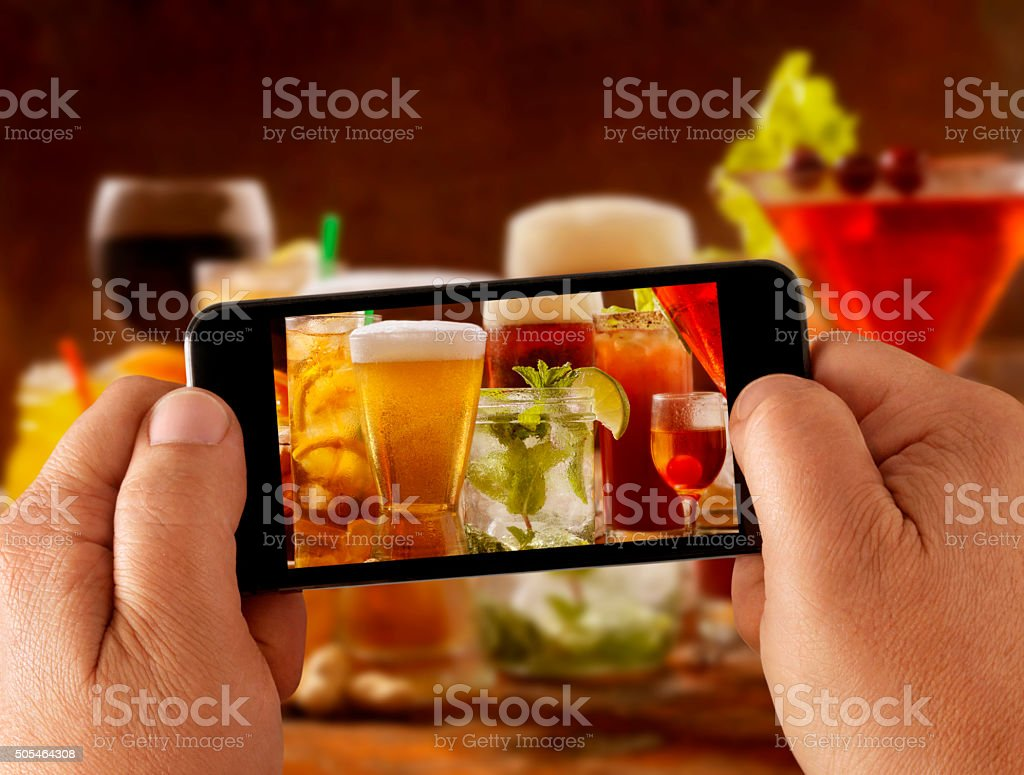 Mobile Photography of cocktails stock photo