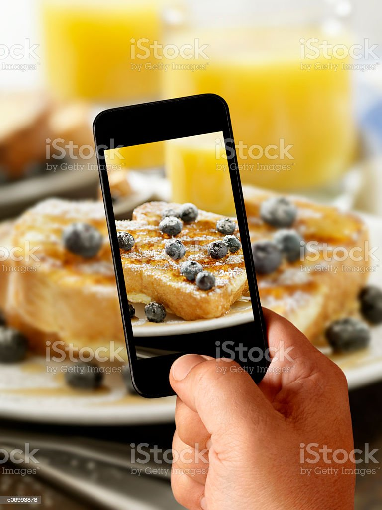 Mobile Photography of French Toast with Maple Syrup stock photo
