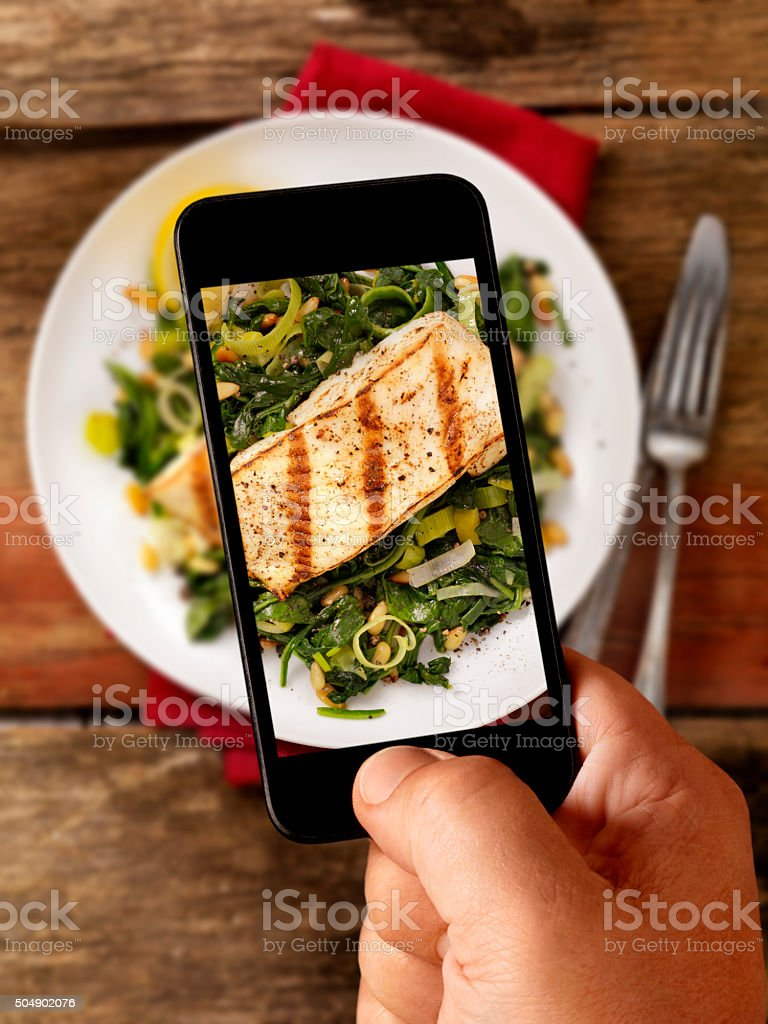 Mobile Photography of Grilled Halibut with Rice stock photo