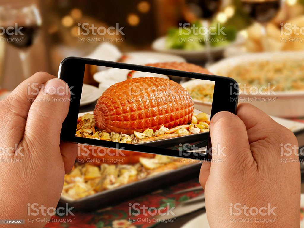 Mobile Photography of Holiday Ham Dinner stock photo