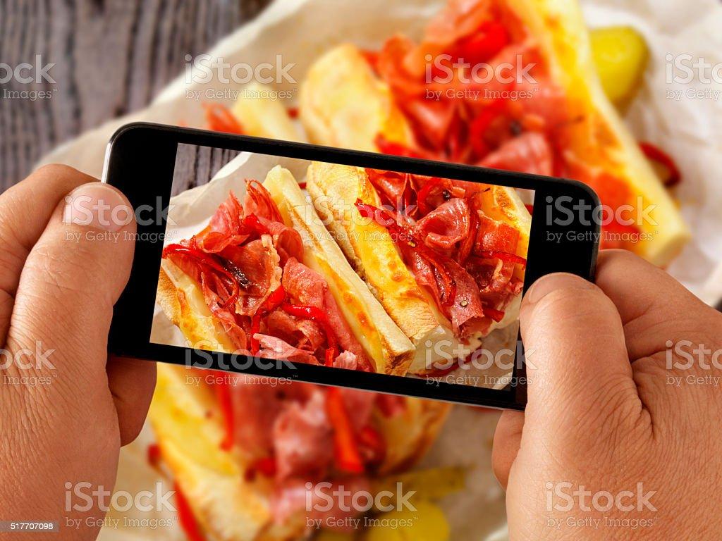mobile photography of Italian Sandwich stock photo