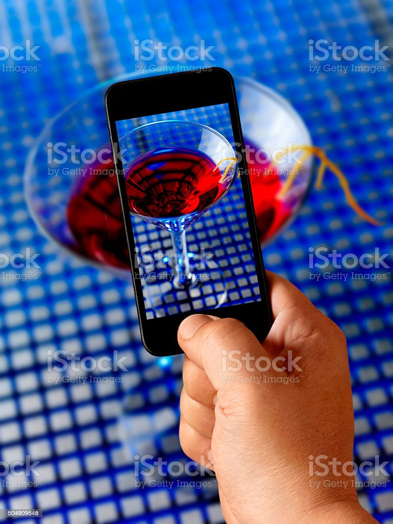 Mobile Photography of My Cosmopolitan stock photo