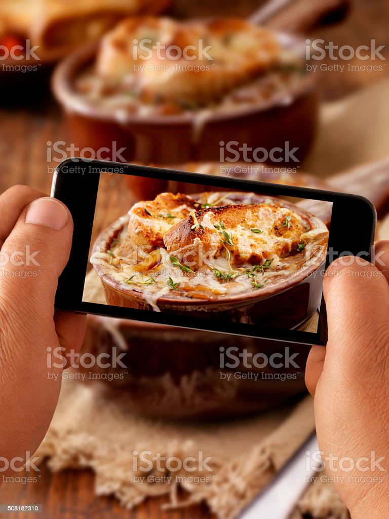 Mobile Photography of my French Onion Soup stock photo