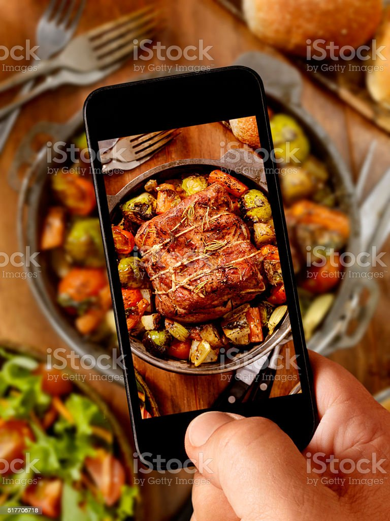 mobile photography of Pot Roast Dinner stock photo