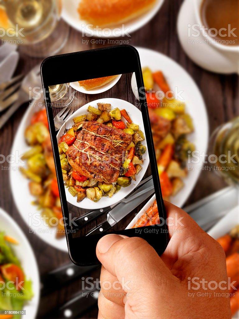 mobile photography of Pot Roast Dinner stock photo