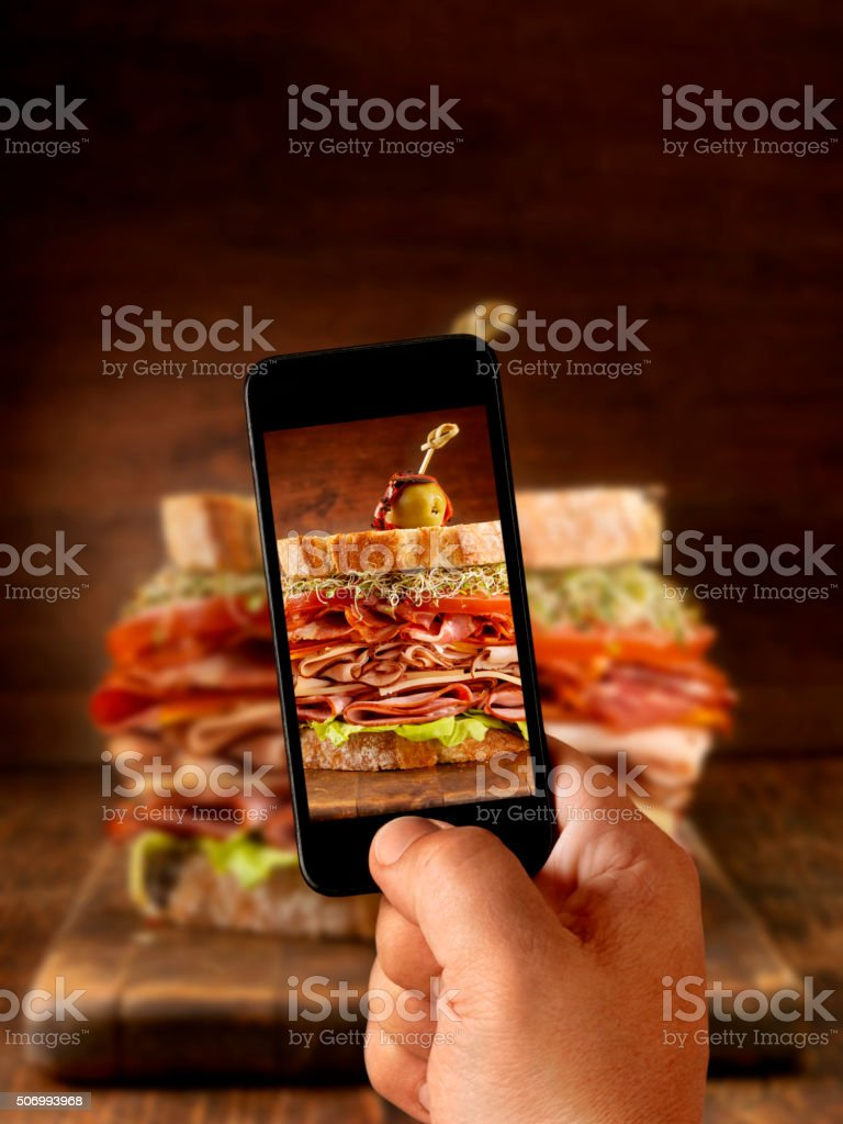 Mobile Photography of Really Big Sandwich stock photo