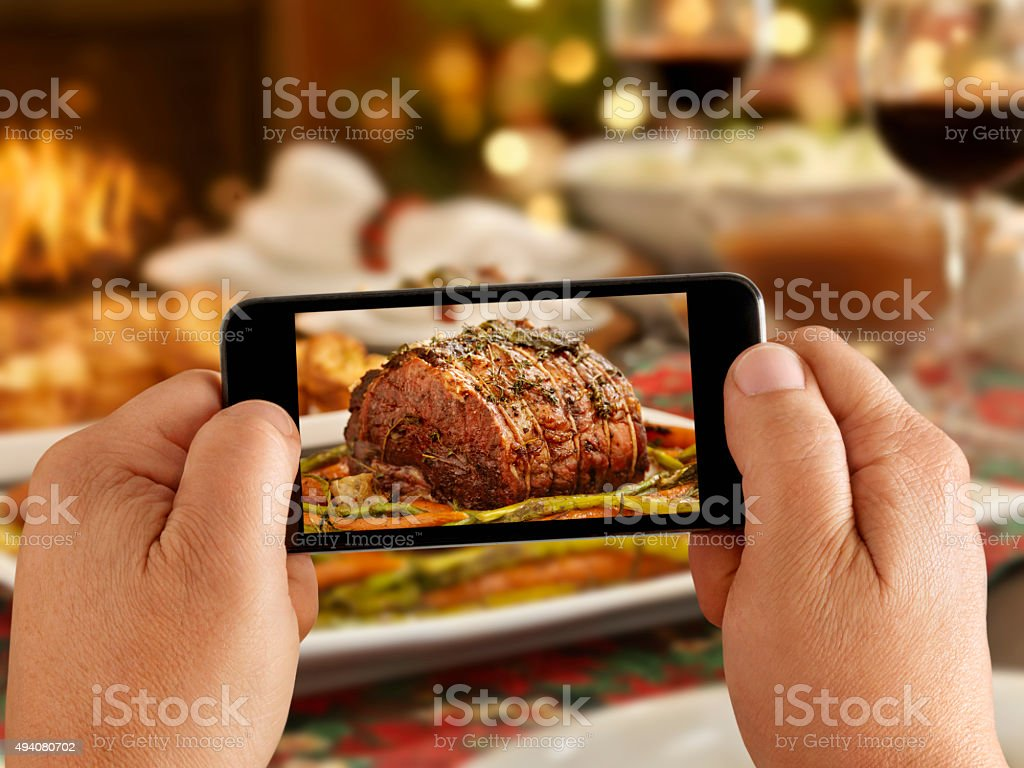 Mobile Photography of Roast Beef Dinner stock photo