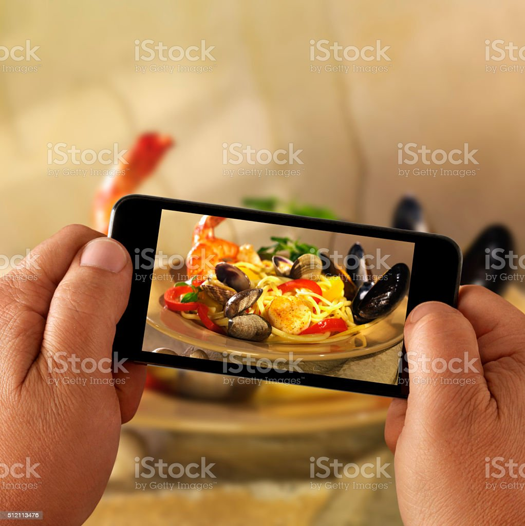 Mobile Photography of Seafood Pasta stock photo