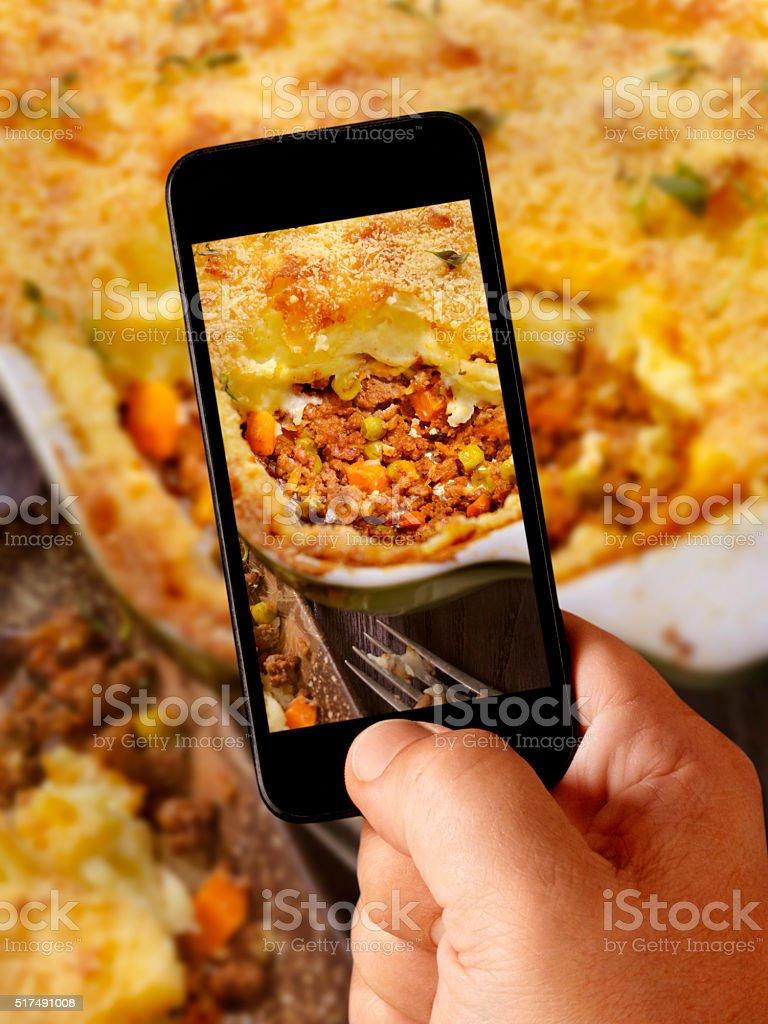 mobile photography of Shepherds Pie stock photo