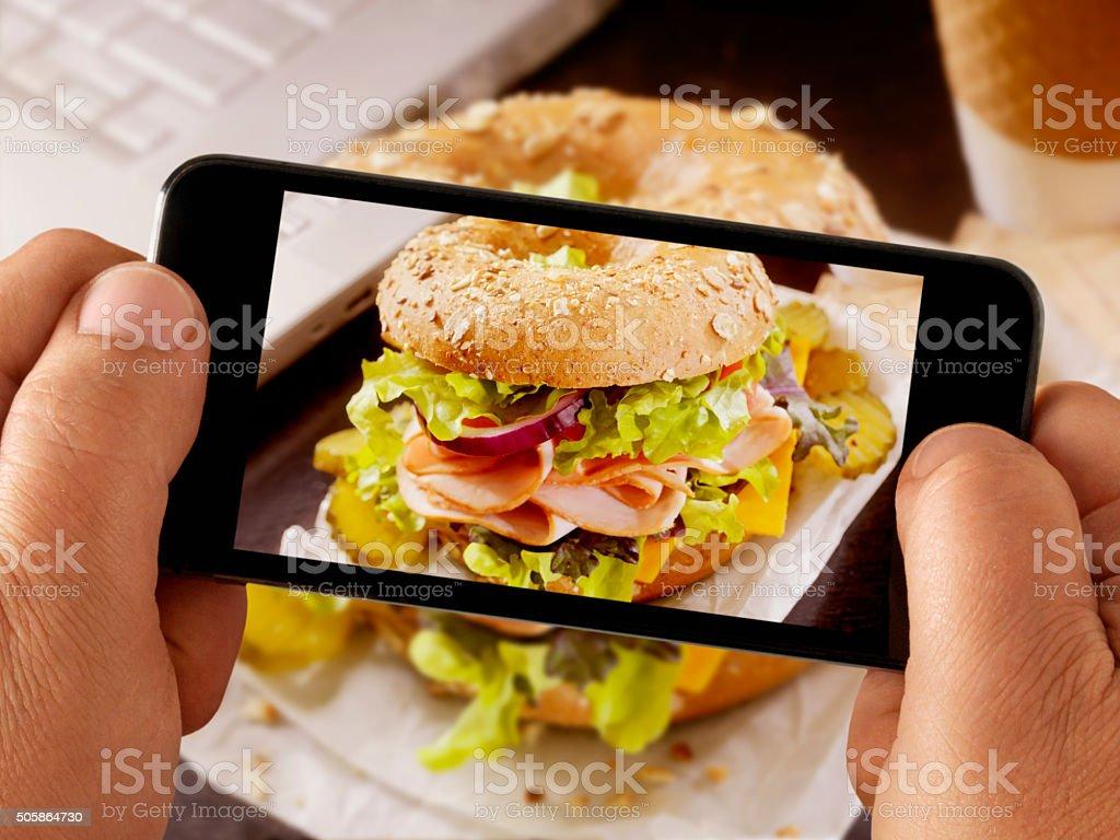 Mobile Photography of Turkey Sandwich stock photo