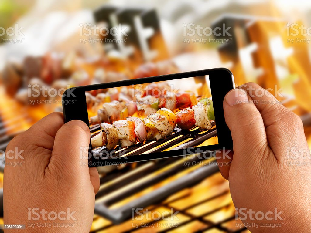 Mobile Photography of Vegetable Kabobs stock photo