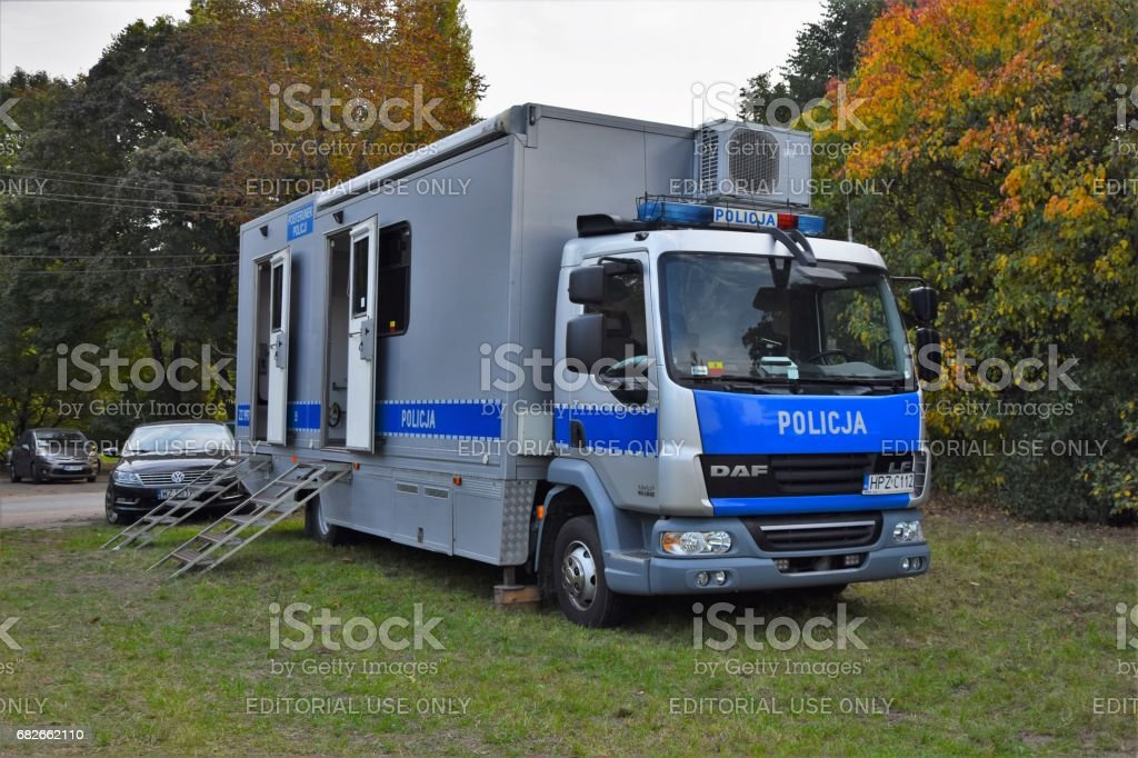 Mobile police station stock photo