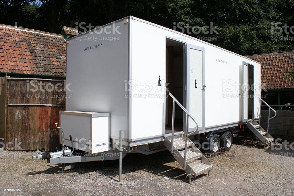 Mobile portable public toilet stock photo