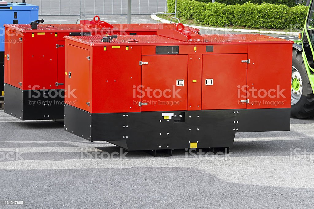 Mobile power generators stock photo