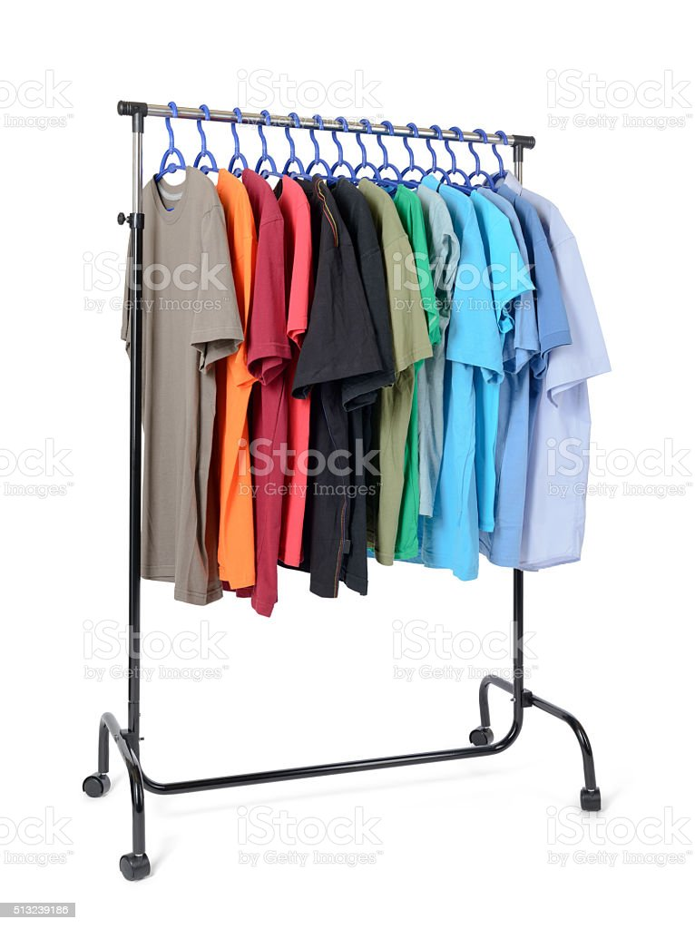 Mobile rack with clothes on white background stock photo