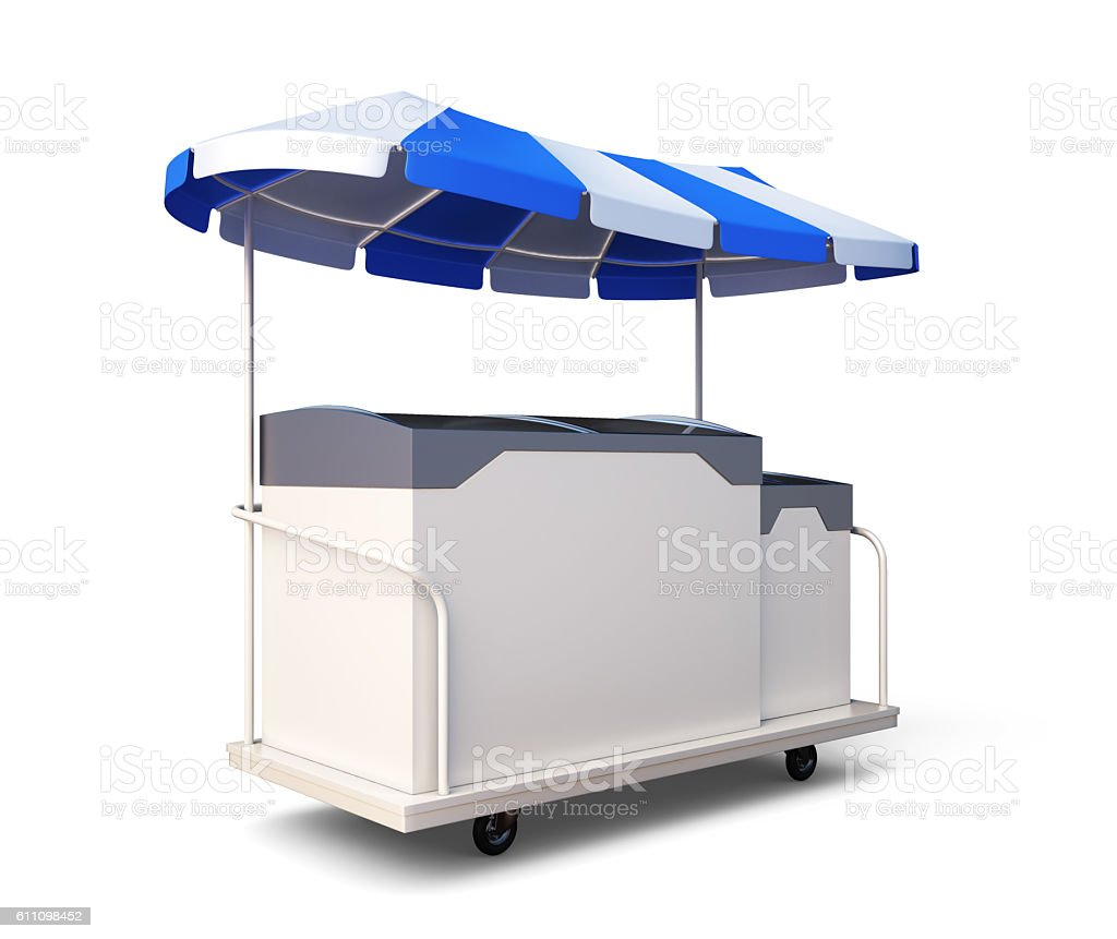 Mobile refrigerator with ice cream isolated on white background. stock photo