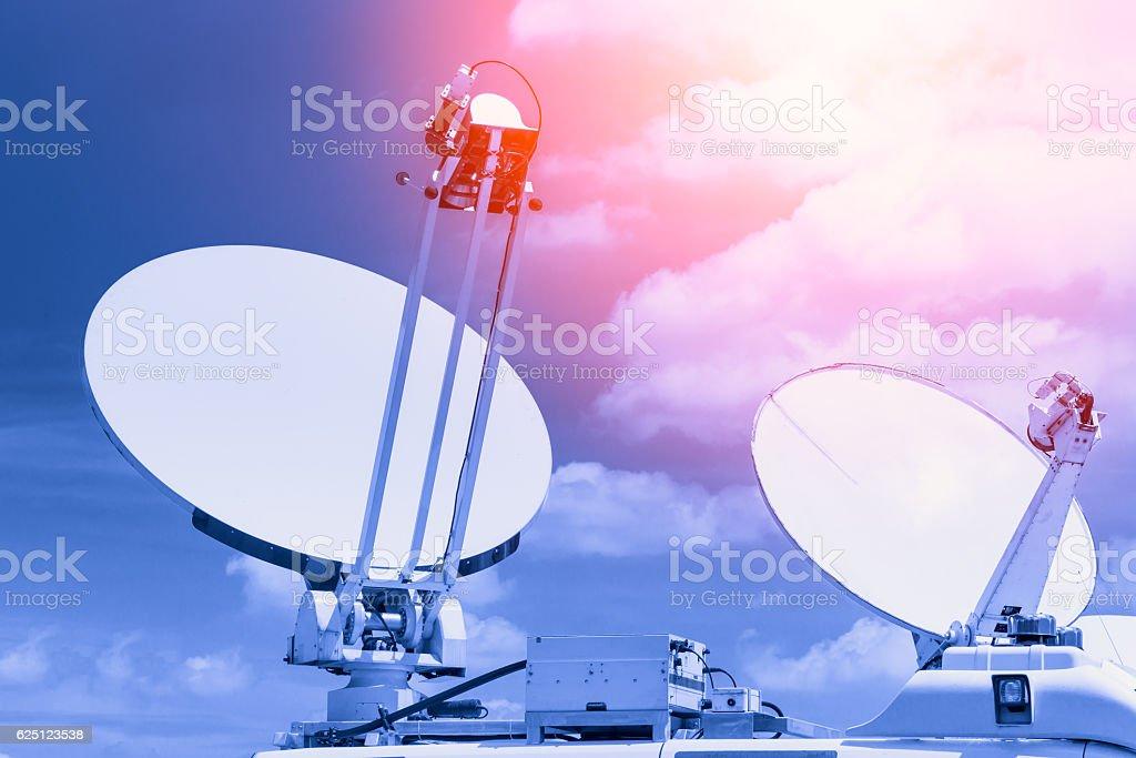 mobile satellite dish, digital media broadcast stock photo